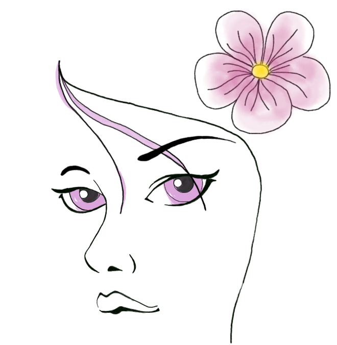 logo-eppi-con-fiore, illustrazione disegnata a mano, faccia di donna, copyright Design by alex b.