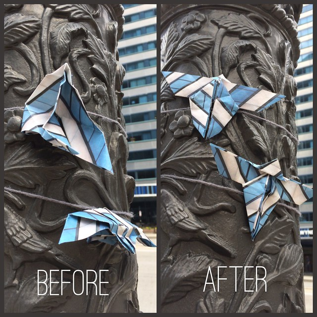 I fixed some public art butterfly origami