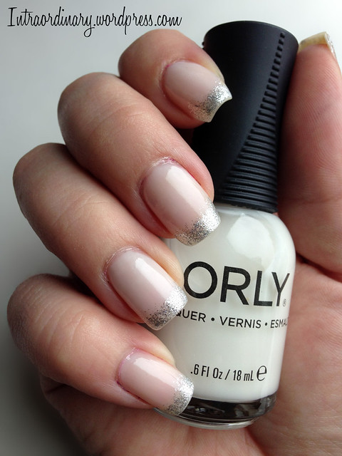 French Manicure with glitter tips