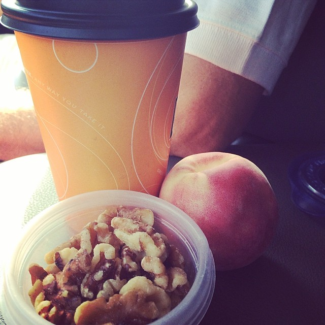 Day 13, #Whole30 - breakfast (walnuts, peach, black coffee)