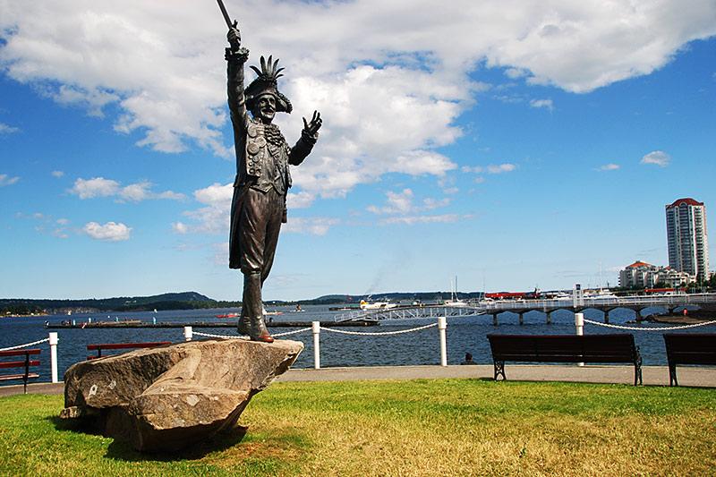 Statue of 'Black Frank' James Ney, former mayor of Nanaimo, Vancouver Island, British Columbia, Canada