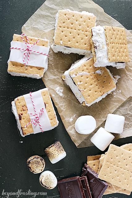 Smores Ice Cream Sandwhich | beyondfrosting.com | #smores