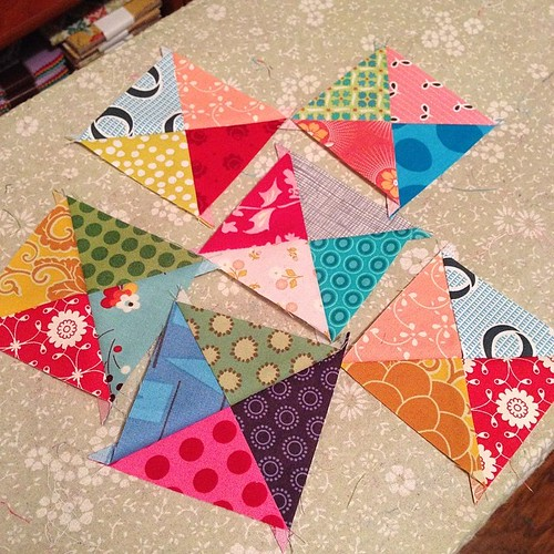 230:365 Scrappy QSTs. But they're too big. I've recut a smaller batch & may turn these into a pillow.