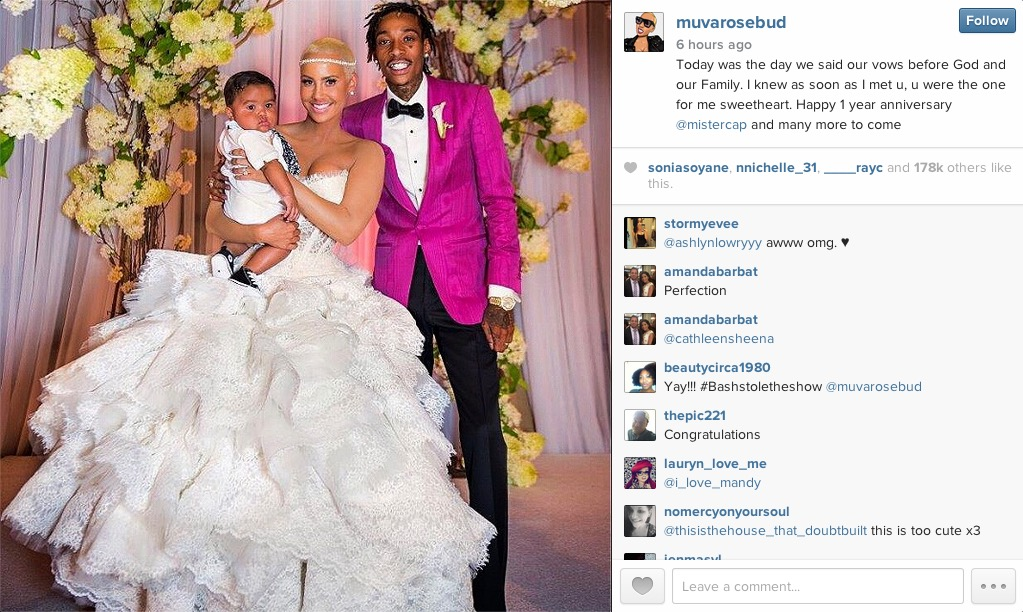 Amber Rose & Wiz Khalifa Share Wedding Photos In Celebration of Their One-Year Anniversary [Photos]