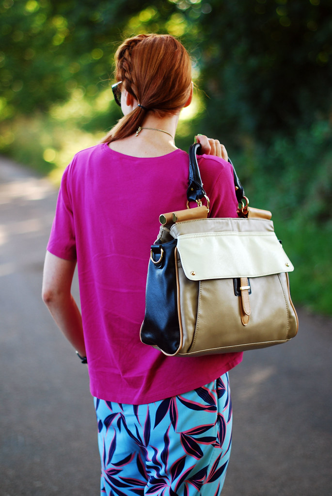 Colour block bag, hot pink and blue #summer #style