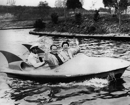 Art Linkletter and his wife Lois riding on the Phantom Boats