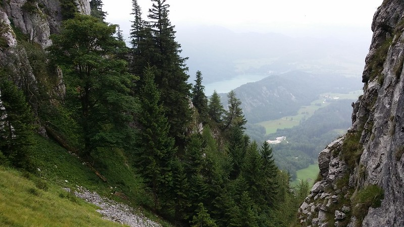 Looking down on the steep descent from Schober