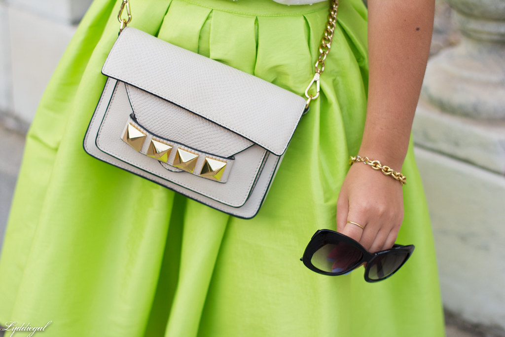 poofy neon green skirt, beaded silk top, grayson bag-2.jpg