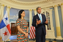 U.S. Secretary of State John Kerry delivers remarks with Panamanian Vice President Isabel Saint Malo at the U.S. Department of State in Washington, DC on September 2, 2014. [State Department photo/ Public Domain]