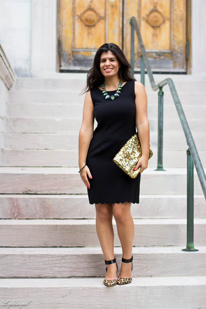 Scalloped Hem Dress, Leopard Pumps, Hello Cheeseburger Necklace.jpg