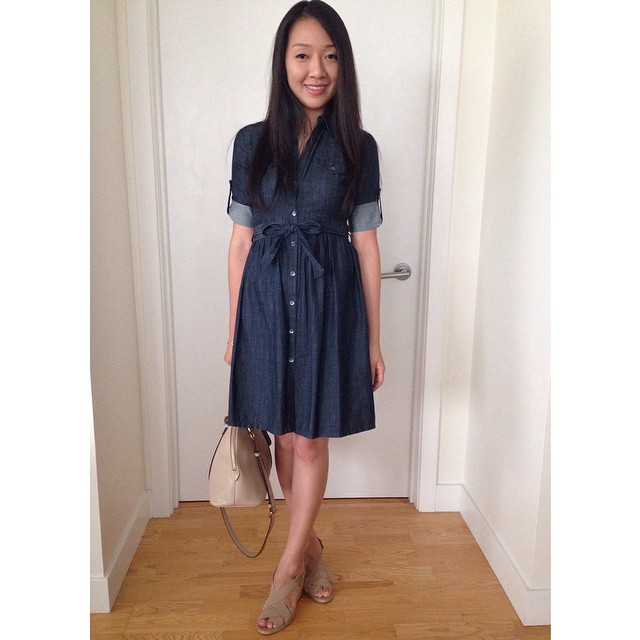 Thank you for all your kind words yesterday regarding our wedding! ☺️ Yesterday's #outfit (an old favorite denim shirtdress from @theory__). It's been a few years since I could fit into this dress comfortably.
