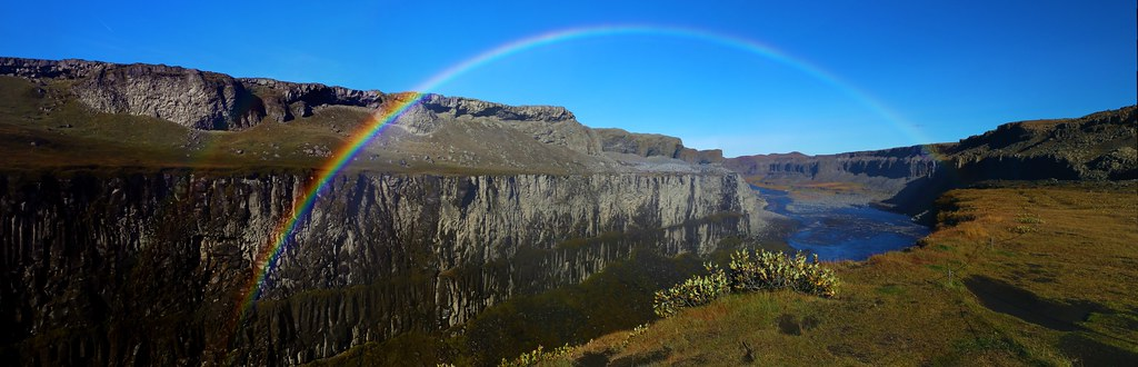 Panorama Rainbow at Dettifoss waterfall Vatnajökull National Park Northeast Iceland