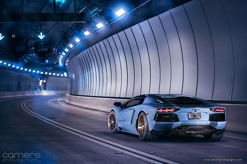 Lamborghini Aventador at the PortMiami Tunnel