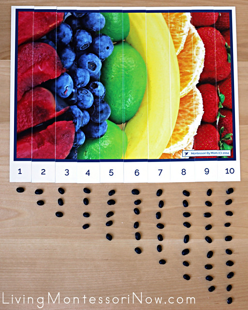 Fruit Number-Sequence Puzzle with Counters
