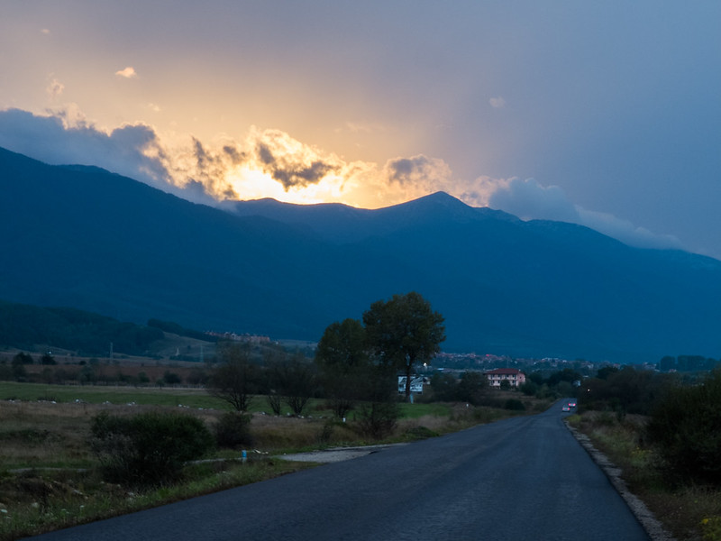 Sunset over Pirin mountain in Bulgaria