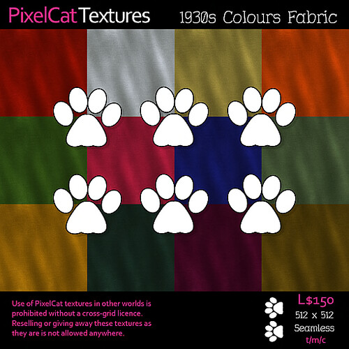 PixelCat Textures - 1930s Colours Fabric