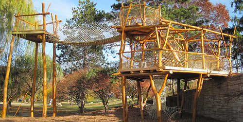 "The ""Forest Scramble"" playscape at Myrick Hixon EcoPark, in La Crosse, Wisconsin, features small-diameter round timber construction design by WholeTrees Architecture and Structures.  WholeTrees has used four Small Business Innovation Research grants to create new markets, grow its business, and create jobs in the rural economy. Photo courtesy of WholeTrees."