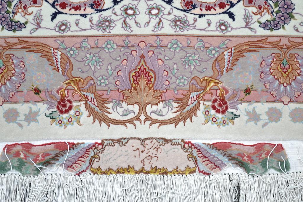 Extremely Fine Benam 75 Raj Silk Persian Rug Item Bi 5