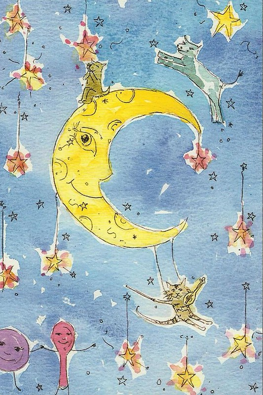 moon cartoon postcard