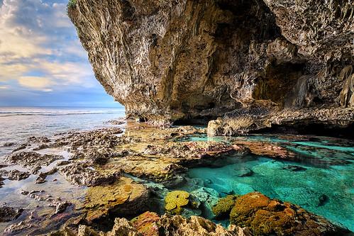 sunset seascape pool landscape snorkel azure cave reef saltwater niue