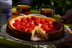 plant(0.0), cherry pie(0.0), meal(1.0), breakfast(1.0), strawberry pie(1.0), strawberry(1.0), baked goods(1.0), frutti di bosco(1.0), produce(1.0), fruit(1.0), food(1.0), dish(1.0), cheesecake(1.0), dessert(1.0), torte(1.0),