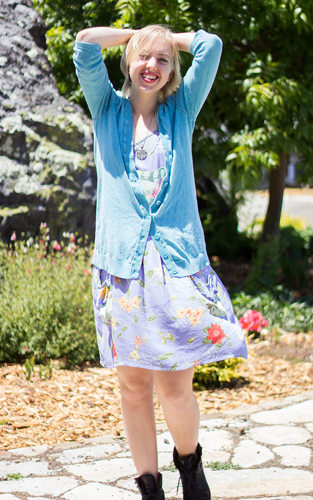 slouchy pastel blue cardigan, lavender smock dress, clunky black boots