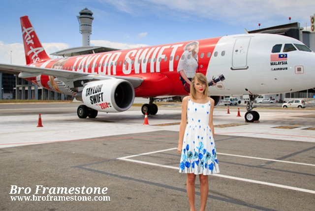 Taylor Swift arrives in Kuala Lumpur on AirAsia's A320 aircraft for her tour