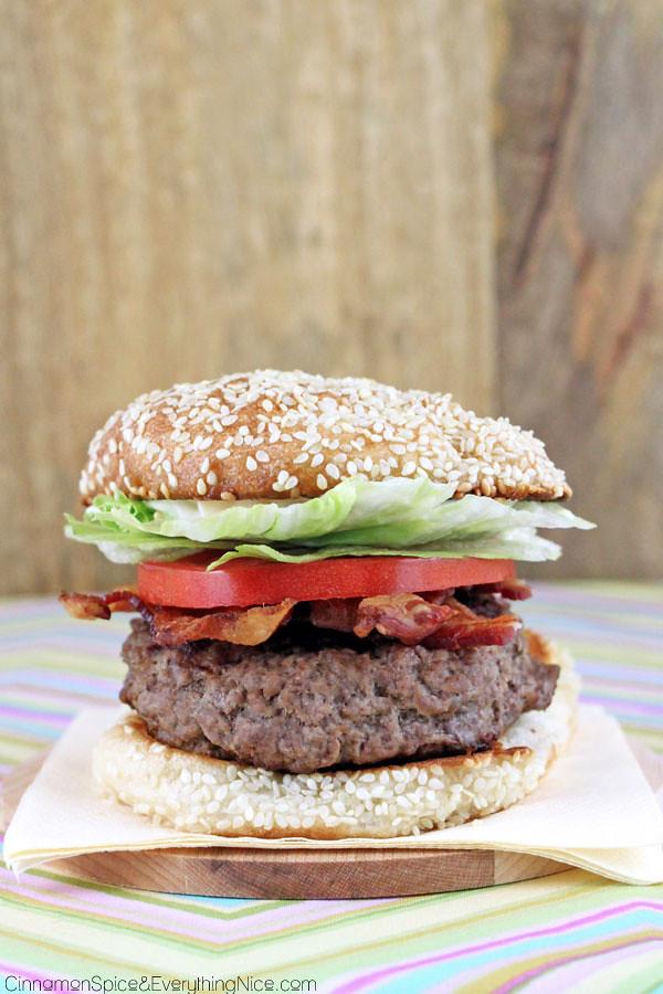 Feta Stuffed BLT Burgers