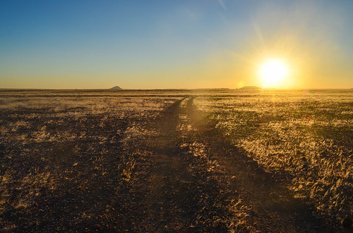 Sunset on the gravel road, Damaraland, Namibia