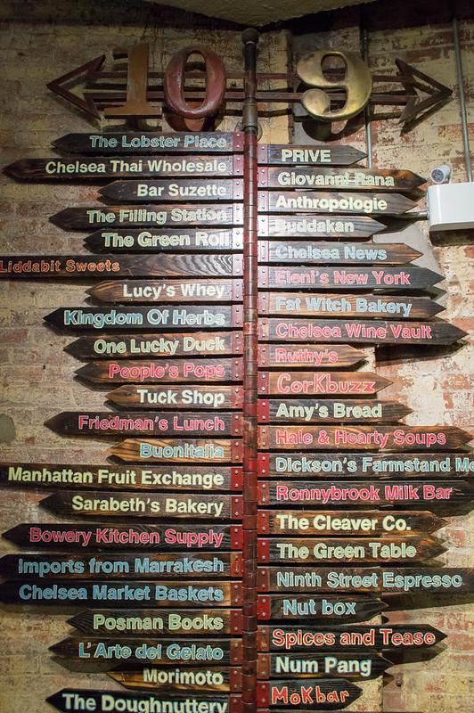 Restaurant Sign in Chelsea Market New York