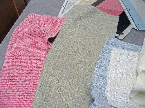Handwoven lace samples by weaver Jette Vandermeiden
