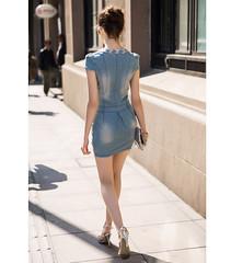 Summer New Women Dress V-neck Denim Dress Women Denim Skirt Diamonds Mounted Mini Sexy Slim Dress Casual-2@Patravol