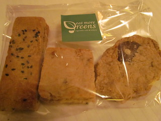 Eat More Greens - Fruit and nut scone, oatmeal choc chip cookie, sesame cookie
