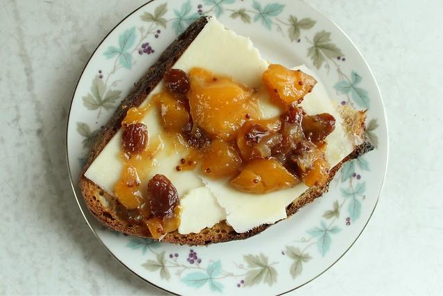 peach chutney, toast.