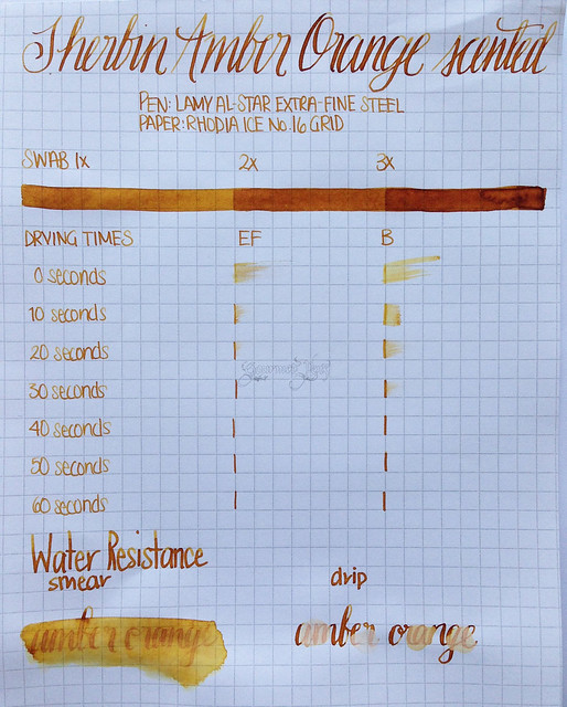 Review: J. Herbin Amber Orange Scented Ink @NotemakerTweets @Exaclair