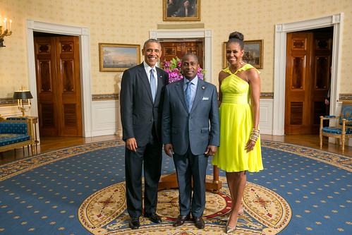 President Barack Obama and First Lady Michelle Obama greet His Excellency Gabriel Arcanjo Ferreira da Costa, Prime Minister of the Democratic Republic of Sao Tome and Principe