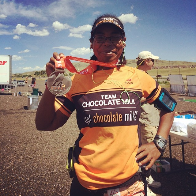 I'm done. I finished the marathon that killed my knees on downhills, but the view was amazing! Now I have to find some @gotchocolatemilk! #fitfluential #sweatpink #bling #revelrockies @runrevel #gobig