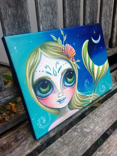 """""""Midnight Mermaid"""" original painting by Jaz Higgins - Side View"""