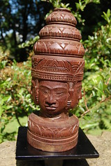 Khmer Hard Wood Carving Statue Of Angkor Thom (brahma) From Cambodia