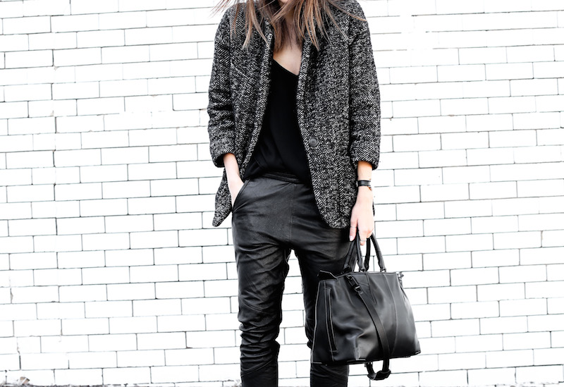 modern legacy fashion blog Australia street style Isabel Marant boucle coat One Teaspoon leather trackies pants Alexander Wang Prisma Tote bag Camilla and Marc Zoya Cami black leather slide sandals off duty style (8 of 8)