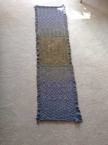 Peter Pan MKAL. Off the needles (at last!) and pre-blocking.