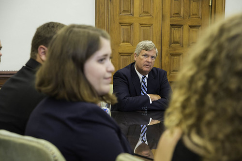 Agriculture Secretary Tom Vilsack talks to winners of the 1st International Soil Judging Contest during their visit to USDA on Aug. 18. American college students took the top two places in the first ever international competition.