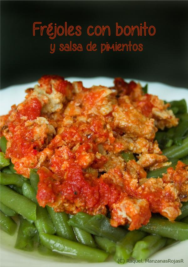 Frejoles con bonito y salsa de pimientos