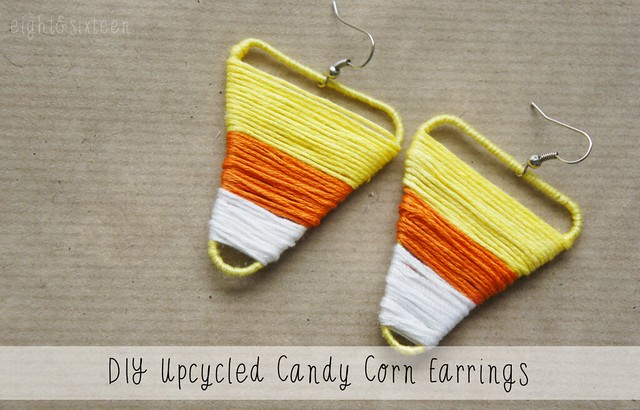 diy upcycled candy corn earrings using paperclips halloween