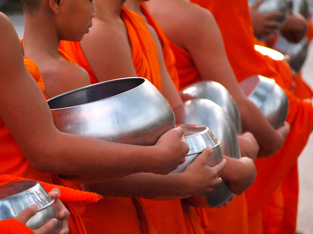 Monks collecting alms in Chiang Mai