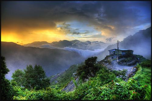 park sunset cloud mountain tree nature fog montagne landscape soleil tea farm coucher taiwan nuage paysage arbre parc brouillard hdr ferme cingjing