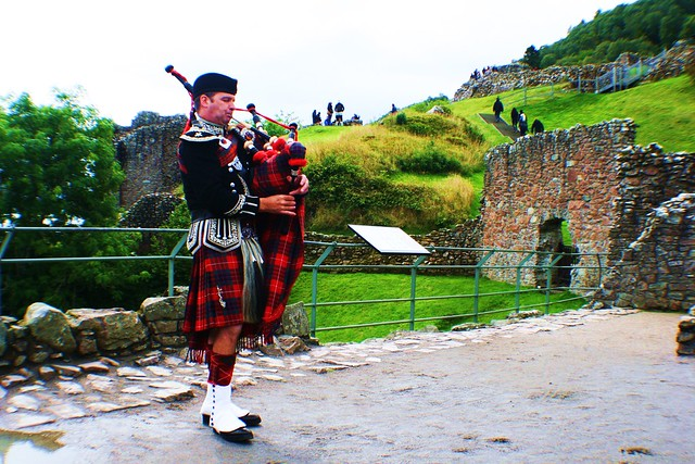 Spud the Piper at Castle Urquhart, Loch Ness, Scotland