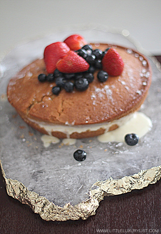 Buttermilk cake with marscapone cream and wine berries cake with platter by little luxury list