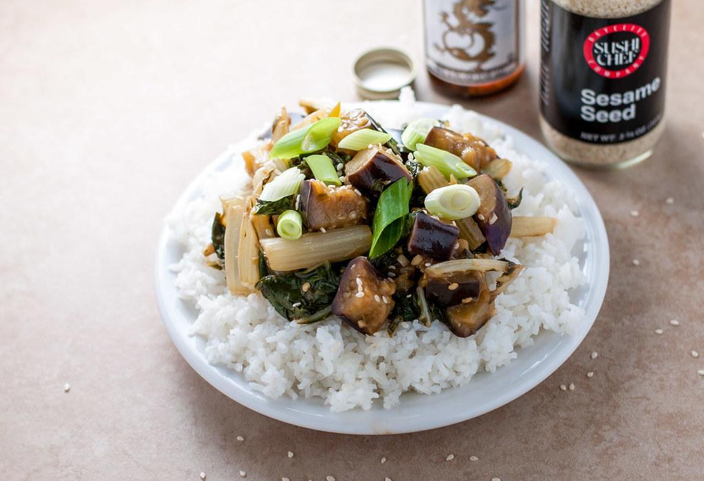 Eggplant chard stir fry