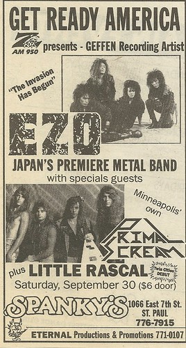 09/30/89 EZO/ Primal Scream/ Little Rascal @ Spanky's, St. Paul, MN